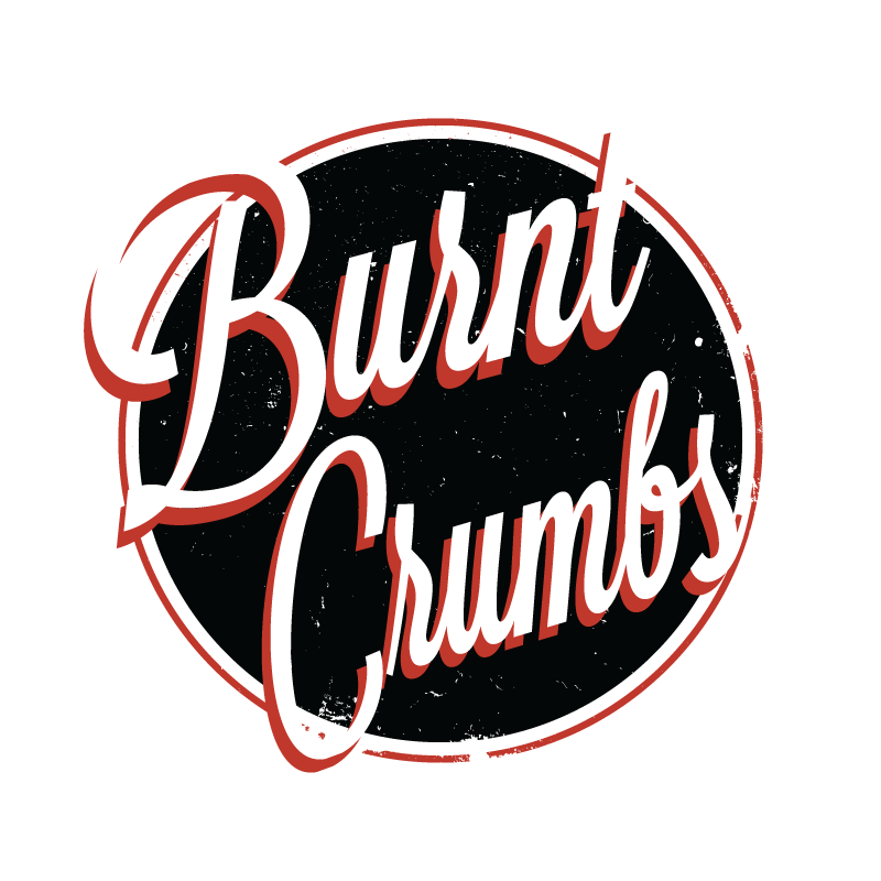 Burnt Crumbs logo in red, white, and black